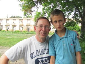 Rick and a boy from an orphanage in Veliko Polovetske, Ukraine